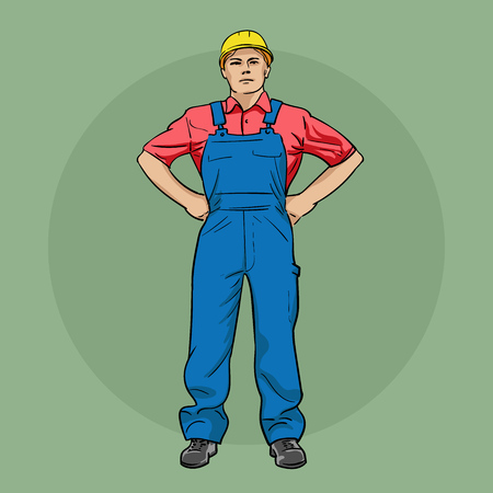 Worker in overalls and a helmet. Vector illustration.