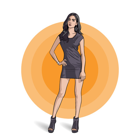The girl in gray dress is in full growth.. Illustration. Stock Illustratie
