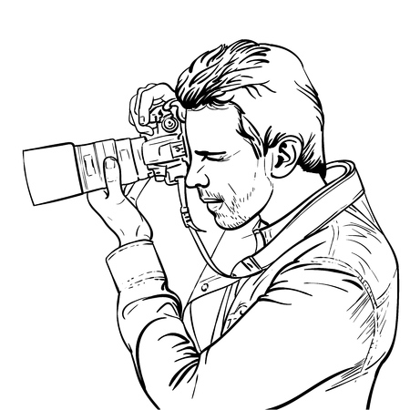 The photographer is at work. Black and white outlines. Portrait of a photographer looking into the lens. Illustration.