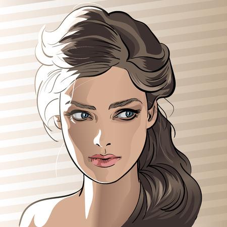 Girl portrait in backlight. Cartoon style.