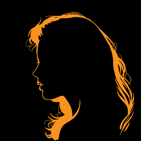 Woman face silhouette in backlight.