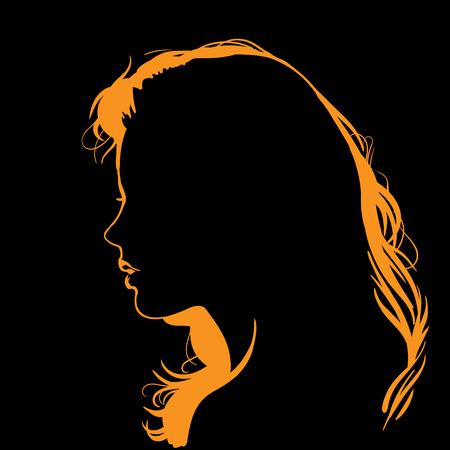 Vrouw gezicht silhouet in tegenlicht.