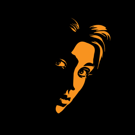 Girl portrait in back light. Black and white style drawing. Vector Illustration