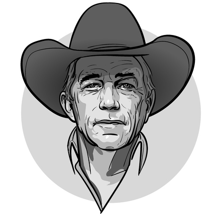 Classic old western style cowboy with hat and bandanna. Cartoon sketch style. Vector. Illustration