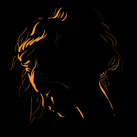 Woman face silhouette in backlight. Low Key. Stock Photo