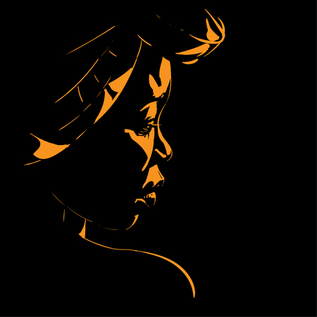 African woman portrait silhouette in backlight