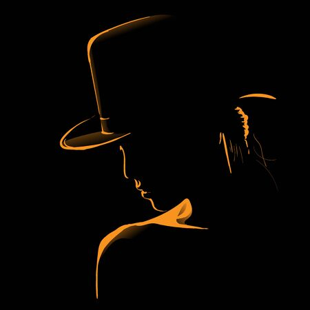 Woman with hat silhouette in back light illustration. 向量圖像