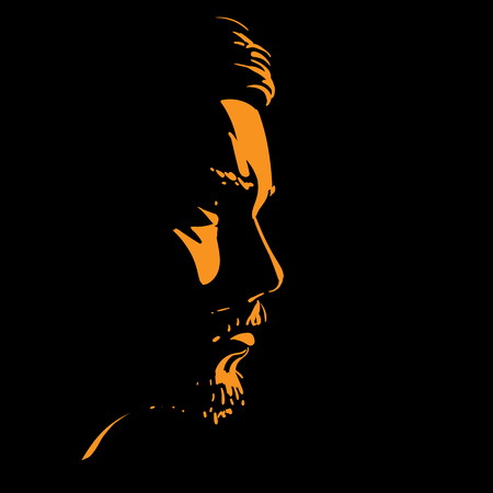 Man portrait silhouette in back light illustration. Vectores