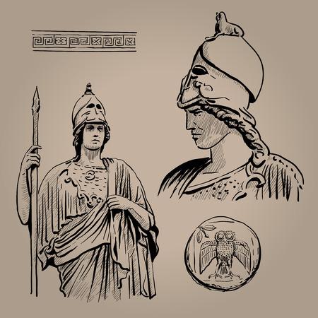 Atenea Pallas. La antigua diosa griega de la sabiduría, la artesanía y la guerra. Dibujo digital a mano boceto