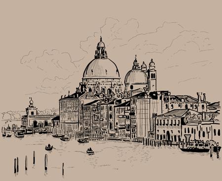 Grand canal and Basilica Santa Maria della Salute, Venice, Italy. Ink. Digital Sketch Hand Drawing