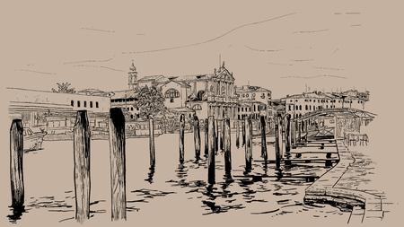 ヴェネツィアの堤防。イタリア。デジタル スケッチ手の描画  イラスト・ベクター素材