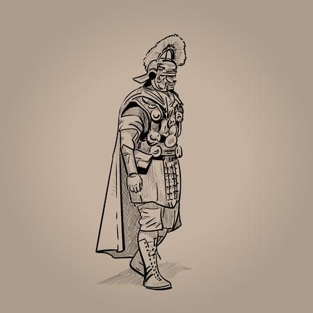 Centurion, Roman legion Digital Sketch Hand Drawn Illustration