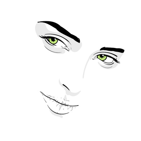 Woman face portrait. Outlines digital Sketch Hand Drawing