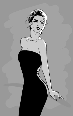 Beautiful woman in black dress with mysteriously looks. Vector. Cartoon style. Illustration.