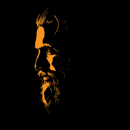 Man portrait silhouette in backlight. Vector. Illustration