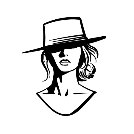 Cowboy girl face with hat. Black and white Vector. Illustration