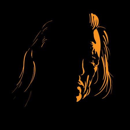 Old man portrait silhouette in backlight. Vector. Illustration