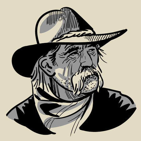 Old Cowboy with a hat. Portrait. Digital Sketch Hand Drawing Vector. Illustration.