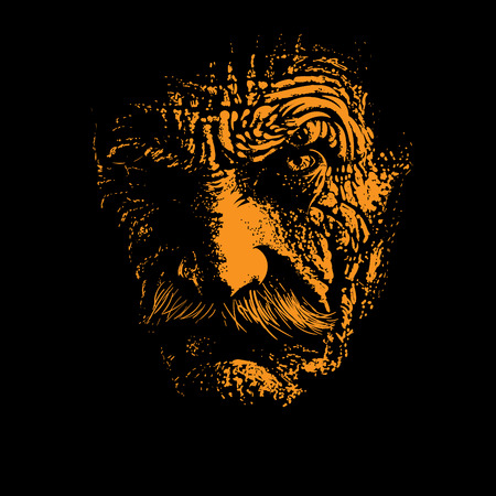 Old man portrait silhouette in backlight. Illustration.
