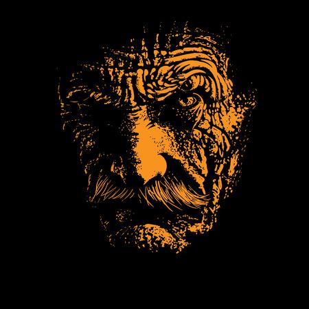 Old man portrait silhouette in backlight. Illustration.