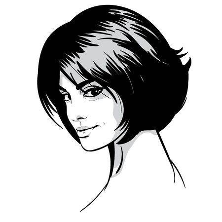 Beautiful woman portrait. Bob hairstyle. Black and white style. Illustration.  イラスト・ベクター素材