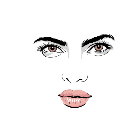 A woman's face portrait with outlines and digital sketch hand drawing illustration.