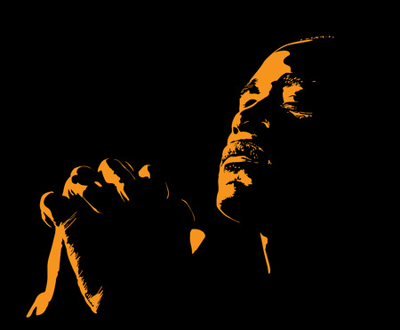 L & # 39 ; homme africain est silhouette prier avec une lumière du soleil Banque d'images - 99235373