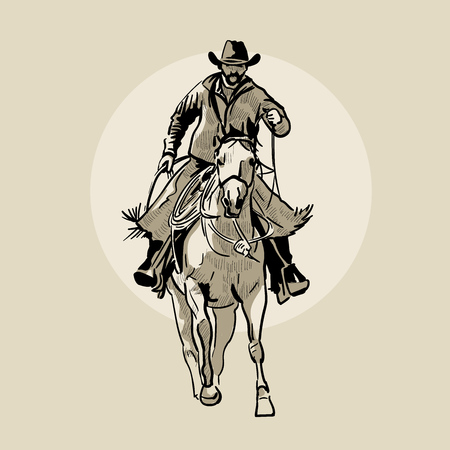 American cowboy riding horse. Hand drawn illustration. Hand sketch. Illustration.