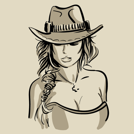 Cowboy girl face with hat. Black and white. Illustration.