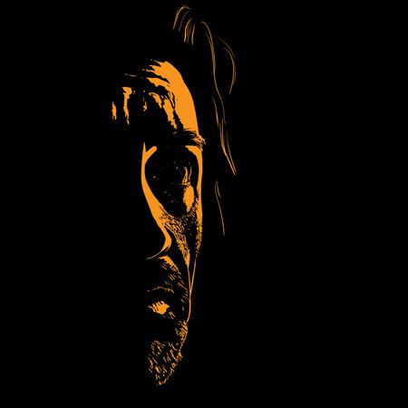Man portrait silhouette in backlight. Illustration.