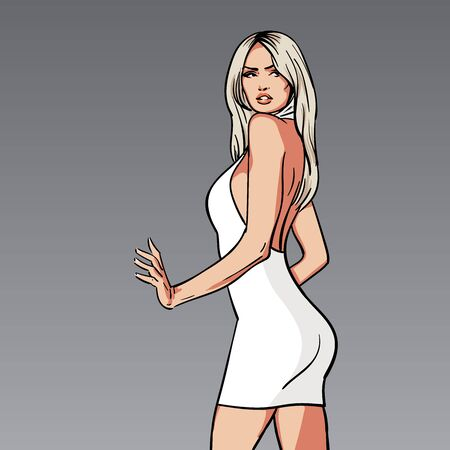 Beautiful blonde woman in white dress. Vector. Cartoon style. Illustration Ilustração