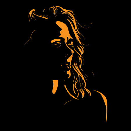 Woman face silhouette in backlight. Illustration.