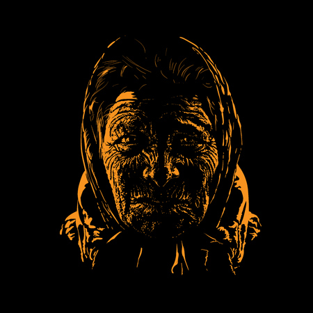 Old woman portrait silhouette in backlight. Vector. Illustration
