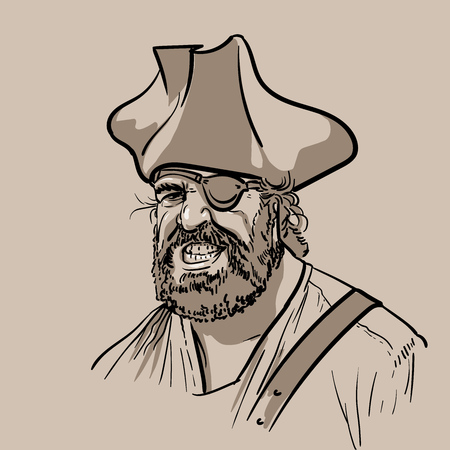 One-eyed pirate with hat. Portrait. Digital Sketch Hand Drawing Vector.