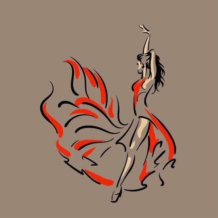 Dancing woman in red dress. Flamenco. Vector Illustration  イラスト・ベクター素材