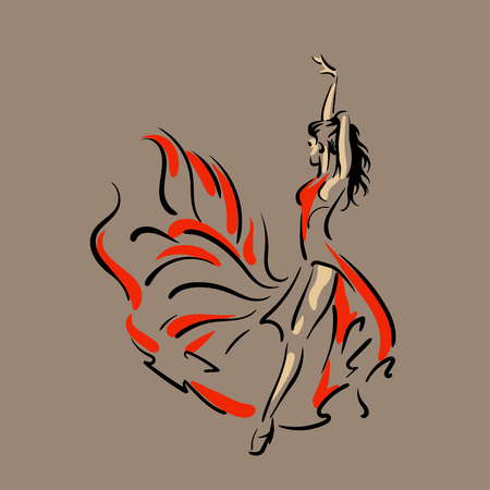 Dancing woman in red dress. Flamenco. Vector Illustration 向量圖像