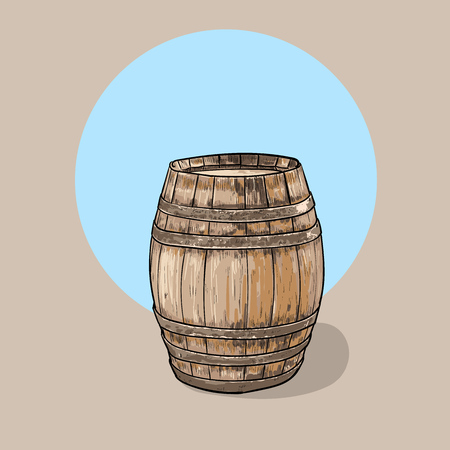 Old wooden barrel. Container Wine Illustration.