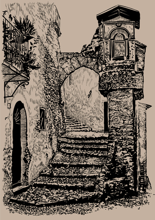 Old town street. Italy. Old stone house with an arch and steps. Digital Sketch Hand Drawing Illustration. Illustration