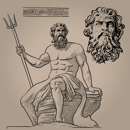 Poseidon. God of the sea, earthquakes, soil, storms, and horses.