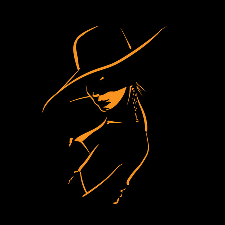 Woman with hat silhouette in back light.