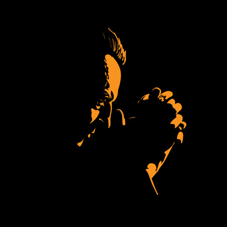 Old Man is praying. Silhouette in backlight. Vector Illustration
