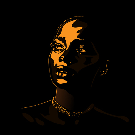 African woman portrait silhouette in backlight. Vector. Illustration.