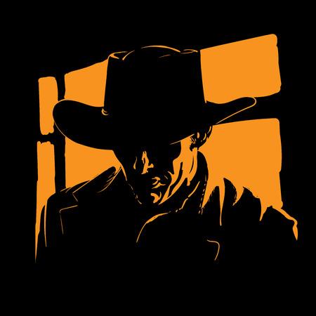 Hombre con silueta de sombrero de vaquero en contraluz. Vector. Ilustración.