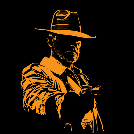 Man with hat and with gun. Portrait silhouette in backlight. Contour. Vector.
