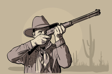 Man with cowboy hat and shirt and scarf shoots a rifle. Western. Digital Sketch Hand Drawing Vector. Illustration.