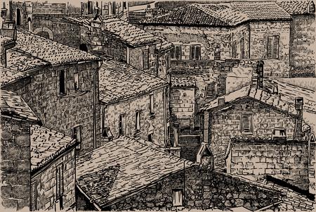 Italy, Tuscany. Old stone houses.