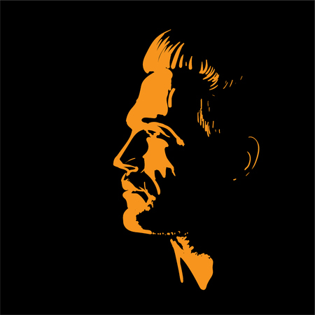 Man portrait silhouette in backlight. Vector