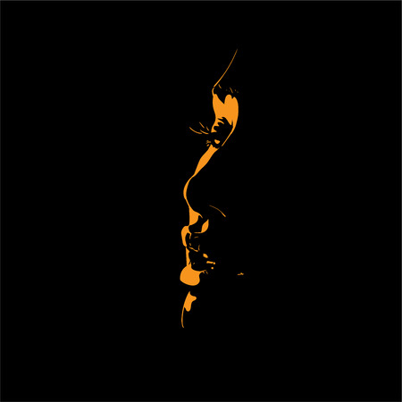 Woman face silhouette in backlight. Beautiful woman. Illustration.
