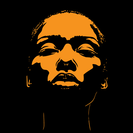 African Woman face in contrast light. Illustration.
