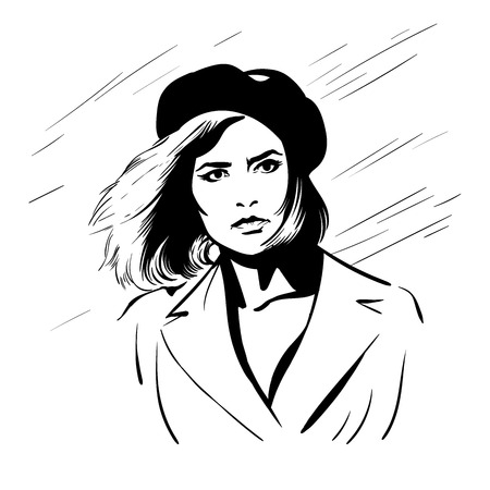 Girl with beret hat Ilustrace